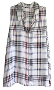 Equipment Sleeveless Collared Button-down Plaid Top White Plaid