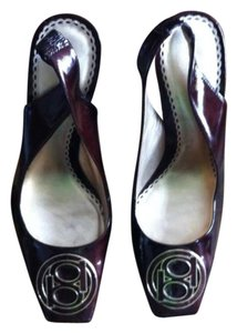 Bebe Patent Leather Monogram Deep Maroon Pumps