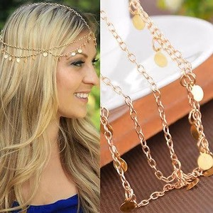 Bohemian Boho Gold Coin Hair Head Chain Headband Headpiece Headdress Forehead Band