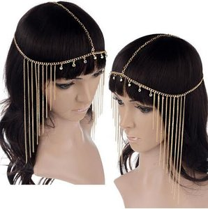 Gold and Rhinestones Bohemian Boho Fringe Egyptian Headband Headdress Forehead Band Hair Accessory