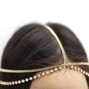 Bohemian Boho Gold And Rhinestones Hair Head Chain Headband Headpiece Headdress Forehead Band