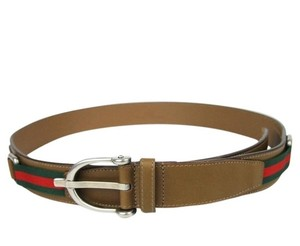 Gucci GUCCI Brown Leather Belt Spur Buckle Signature Web 309257 2566 105/42
