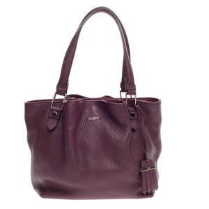 Tod's Leather Tote in Purple