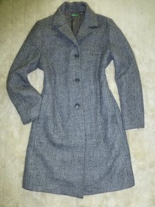 United Colors of Benetton Made In Italy Tweed Wool Trench Coat