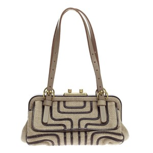 Bottega Veneta Canvas Satchel in Beige