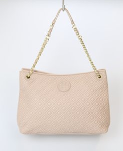 Tory Burch Slouchy Quilted Tote in Nude