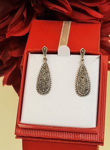 Vintage Sterling Silver Marcasite Piered Earrings
