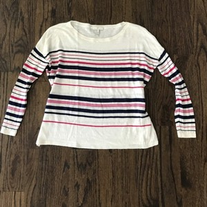 Joie Cropped Linen Striped Top White/Pink/Blue