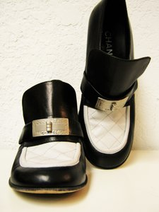 Chanel Leather Loafers Heels Black + White Mules