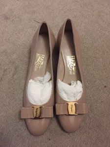 Salvatore Ferragamo tan patent Pumps
