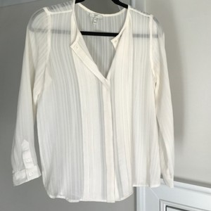 Joie Silk Button-up Sheer Top Ivory