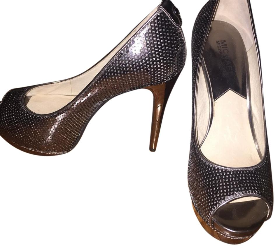 67c8635e4f3aa Michael Kors Sequin Gun Metal Gray Platforms Size US 8.5 Regular (M ...