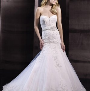 Moonlight Bridal Ivory Lace/Net/Corded Appliques H1243 Casual Wedding Dress Size 8 (M)