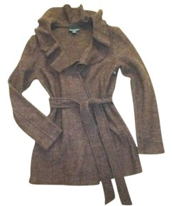 Cynthia Rowley Boiled Wool Belted Ruffled Neckline Brown Jacket