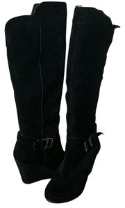 BCBGeneration Bcbg Suede Wedge Buckle Black Boots