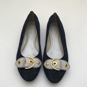 Talbots Gold Hardware Cream Buckle Navy Blue Flats