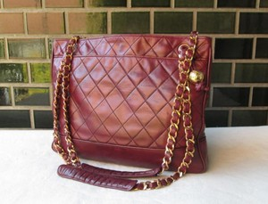 Chanel Lambskin Quilted Leather Tote Shoulder Bag
