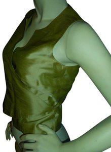 Ann Taylor 100% Silk Party Holiday Festive Vest Top chartreuse