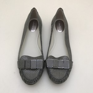 Calvin Klein Snakeskin Loafers Textured Animal Print Grey Flats