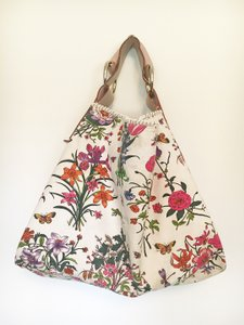 Gucci Flora Canvas Leather Hobo Bag