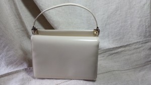 Salvatore Ferragamo Bone Leather Silver Accents Off White Clutch