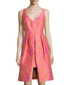 Trina Turk Cocktail Jacquard Pleated Dress