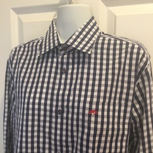 Moods of Norway Shirt Medium Checked Button Down Shirt Navy white