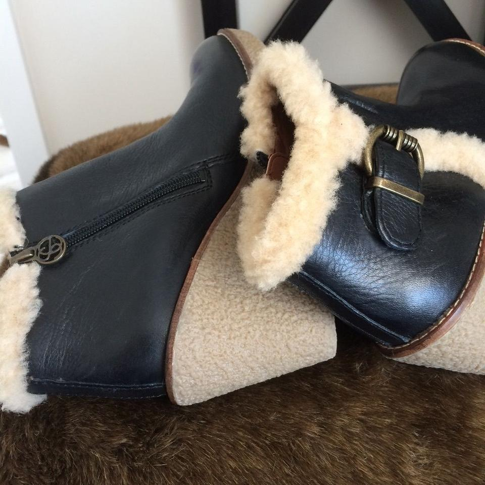 7449c60d6 Sam Edelman Black Leather Women s Ankle with Fur Boots Booties Size ...