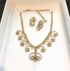 Sarah Coventry Designer Signed Rhinestone Necklace & Earrings VINTAGE Judy Lee & Sarah Coventry