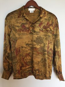 Escada Silk Equestrian Button Down Shirt Gold