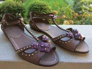 Miu Miu Studded Leather Flat Brown, Taupe, Purple, Silver Sandals