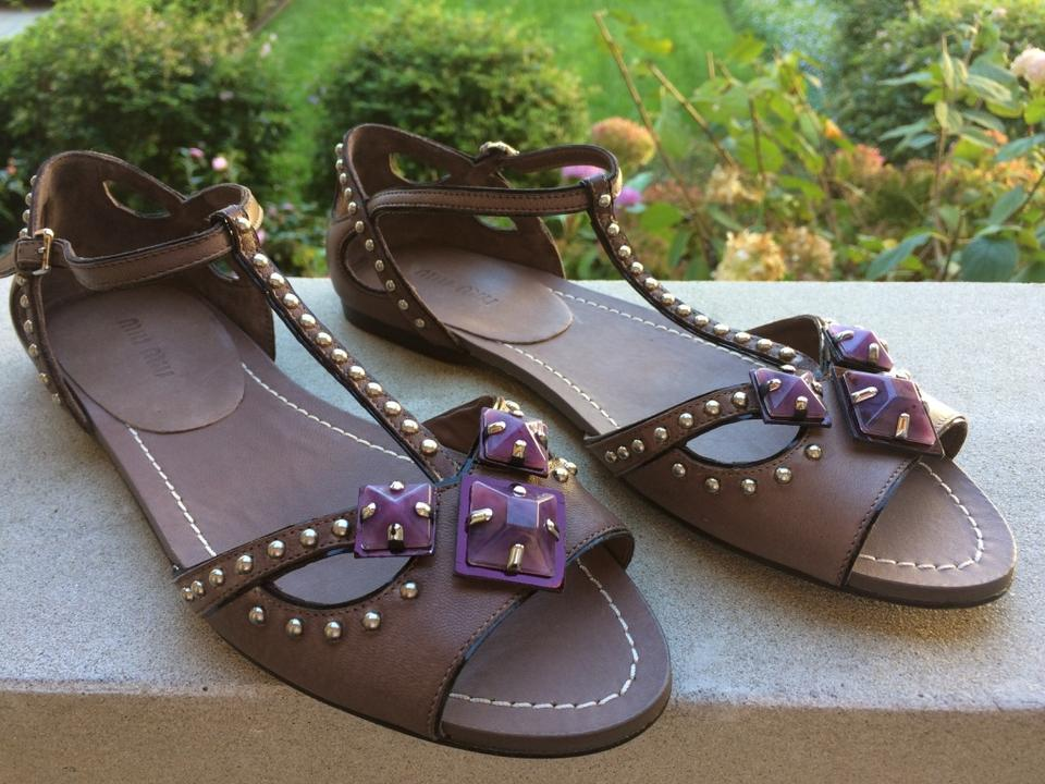 ace6b2ce6657 Miu Miu Brown Taupe Purple Silver Studded T-strap Flat Sandals Size ...