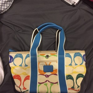 Coach Tote in Blue Yellow Green Orange Purple