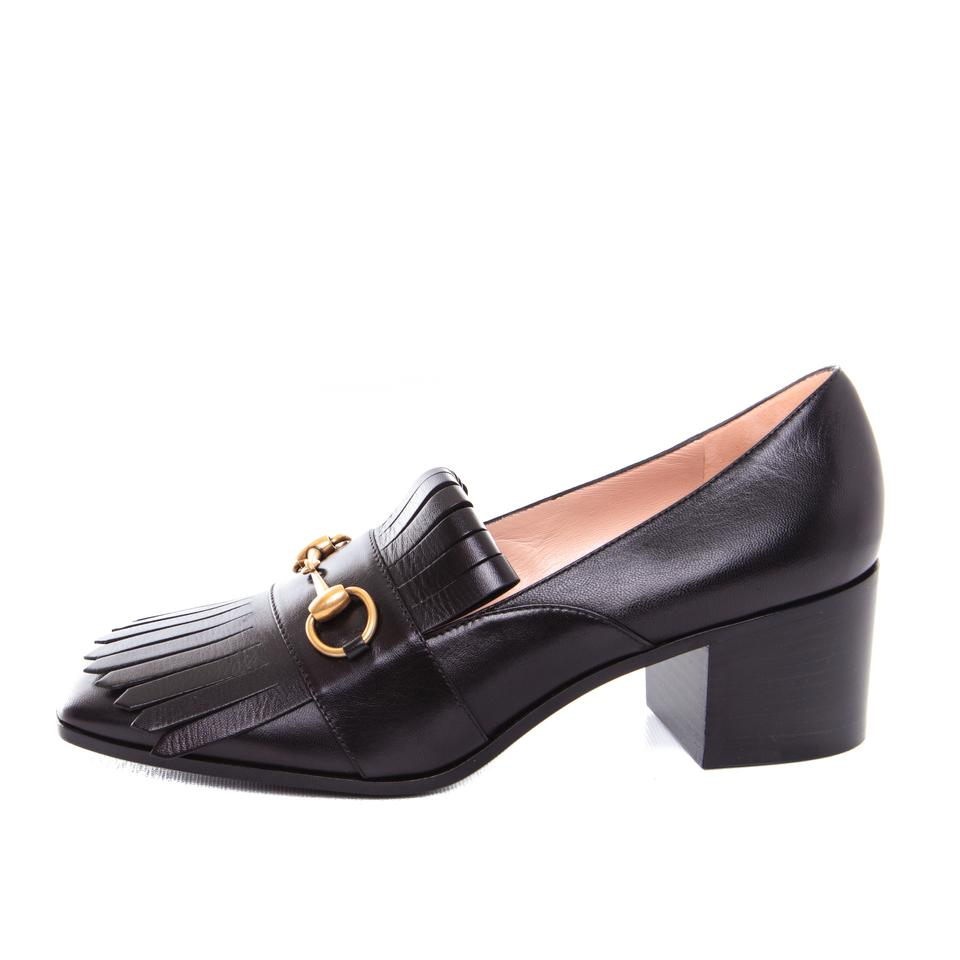 4569cd92411 Gucci Black Horsebit Womens Leather Mid-heel Loafers   New Pumps ...