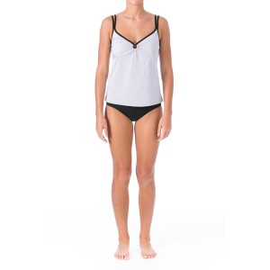 mainstream Mainstream Womens Silver O-Ring Full Coverage Tankini Swimsuit Set 14