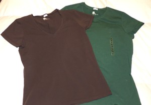 Gap 2 Pack T Shirt Green & Brown