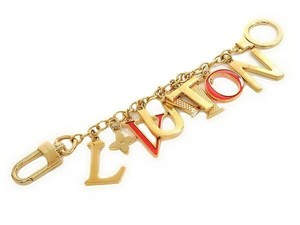 Louis Vuitton Authentic Louis Vuitton Gold-Tone Red Porte Clefs Initial Bag Charm