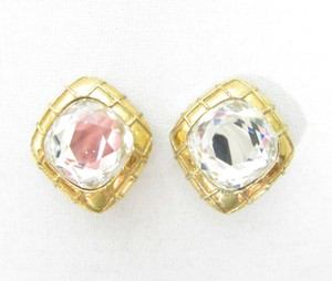 Chanel Vintage Gold Plated Signed Crystal Headlight Clip On Earrings RARE