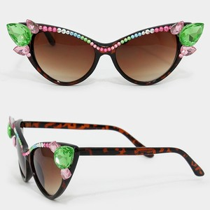 Office Glam Multicolor Rhinestone Crystal Accent Cat Eyes Sunglasses