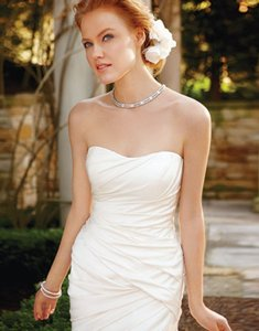 Casablanca Ivory Satin with Beaded and Embroidered Accents 2037 Formal Wedding Dress Size 10 (M)