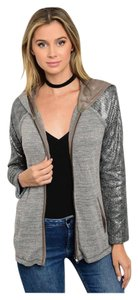 Other Hoodie Cardigan Zip Up Sequin Embellished Sweater