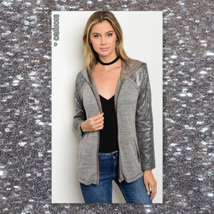 Hoodie Cardigan Zip Up Sequin Sweater
