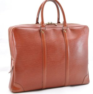 Louis Vuitton Porte Document Briefcase Laptop Epi Leather Leather Satchel in Brown