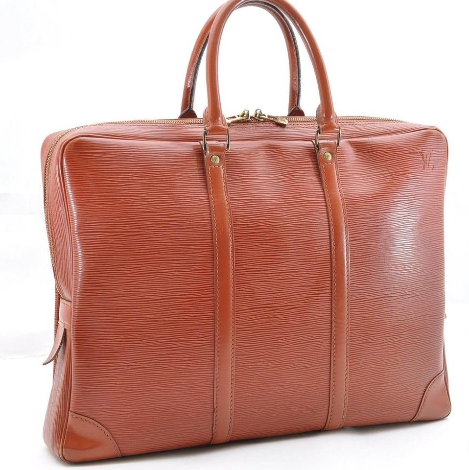 7dd0b3469a42 Louis Vuitton Porte Documents Voyage Business Purse -887 Brown Epi Leather  Satchel