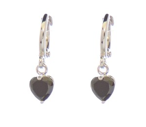 Other Mini Black Heart Rhodium Silver Huggie Dangle Earrings