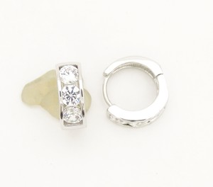 Other Three CZ Clear Stone Round Silver Rhodium Silver Huggie Earrings