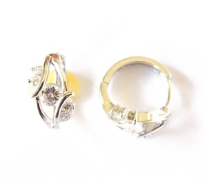 Other Labyrinth Silver Rhodium CZ Clear Stone Round Huggie Earrings