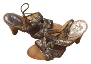 Frye Dolly Woven Braided Heels Pewter Sandals