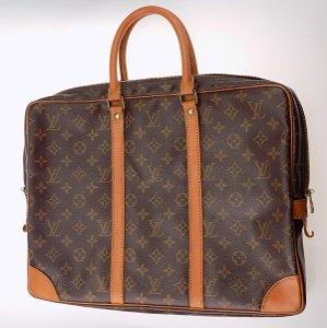 Louis Vuitton Porte Document Voyage Briefcase Laptop Monogram Satchel in Brown Monogram