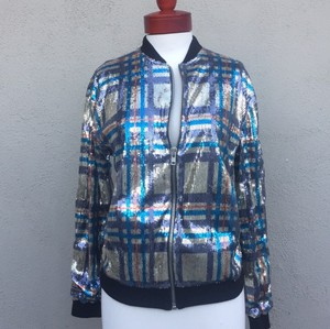 Topshop Silver plaid with black contrast ( turquoise, orange purple) Jacket